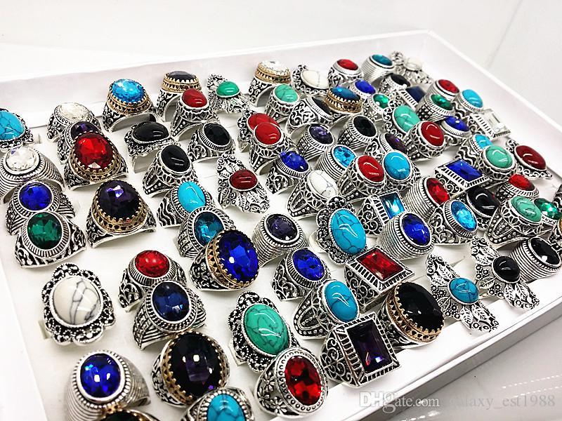 lotti all'ingrosso di massa assortiti stili di miscelazione degli uomini argento antico d'epoca turchese pietra anelli nuovi di zecca