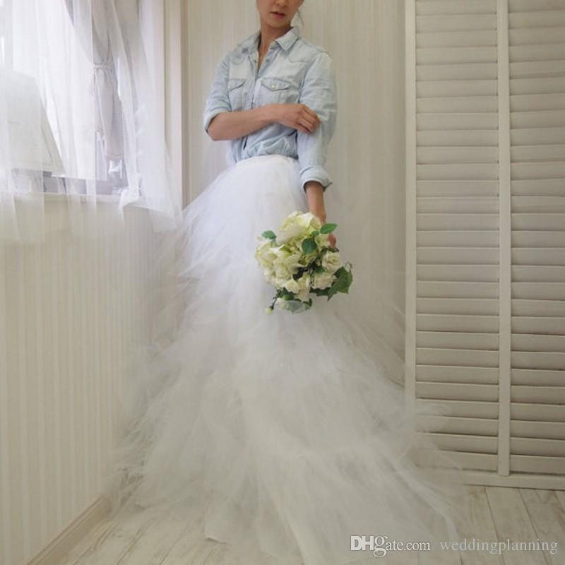 2017 Popular Women Wear Tulle Wedding Skirts Petticoats White Ivory Lace Floor Length Skirt Custom Long Skirts