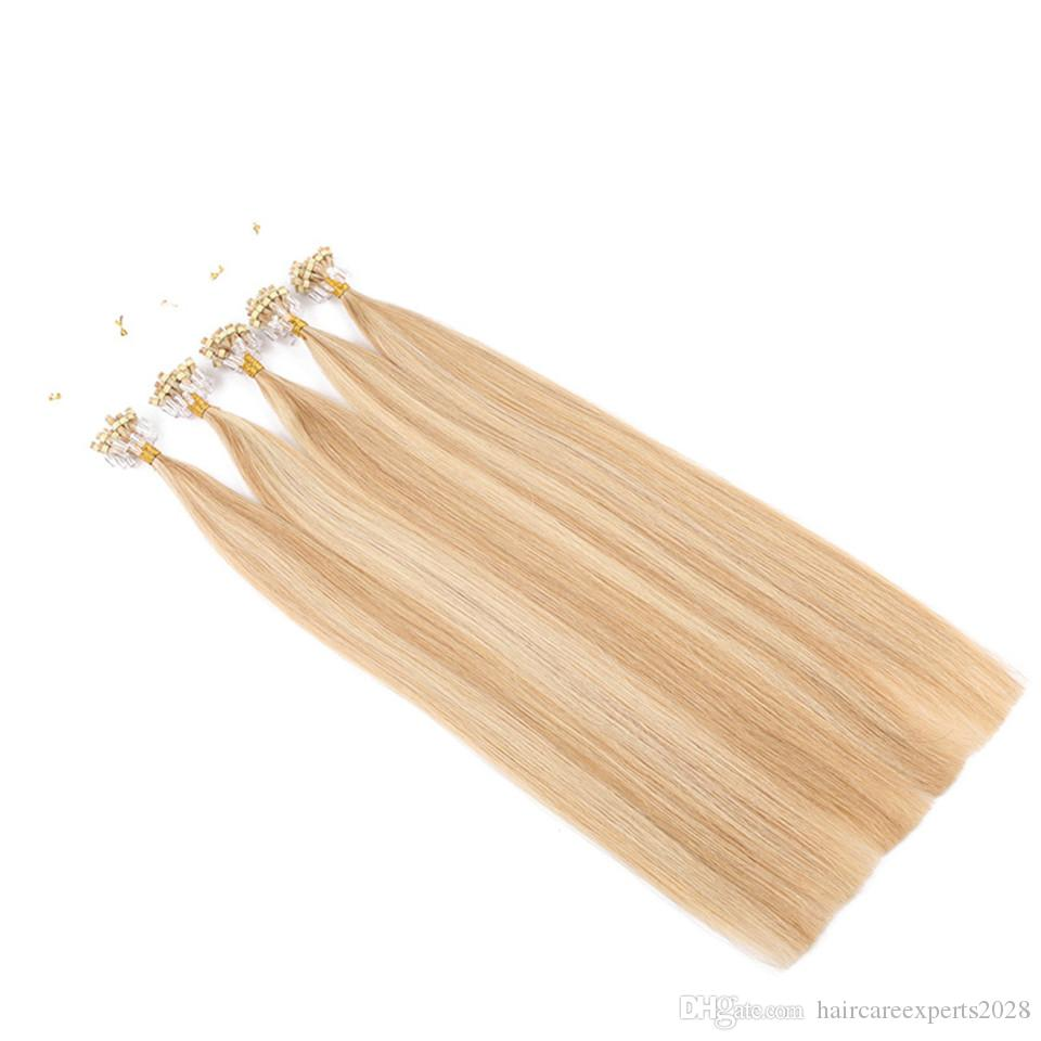 #27/613 micro loop hair extensions 200strands/lot 1g/s brazilian virgin hair top quality micro loop human hair extensions14-28 inch on sale