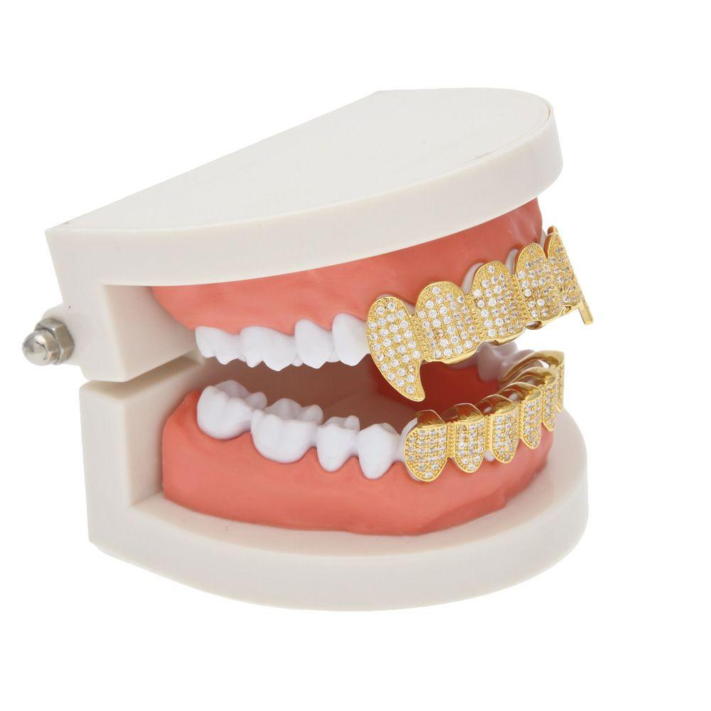 New Custom Women Men Fit Gold Plated Full Inlay Micro Exclusive Luxury Zircon Top Bottom Gold Grillz Vampire Diamond Dentine Teeth Set