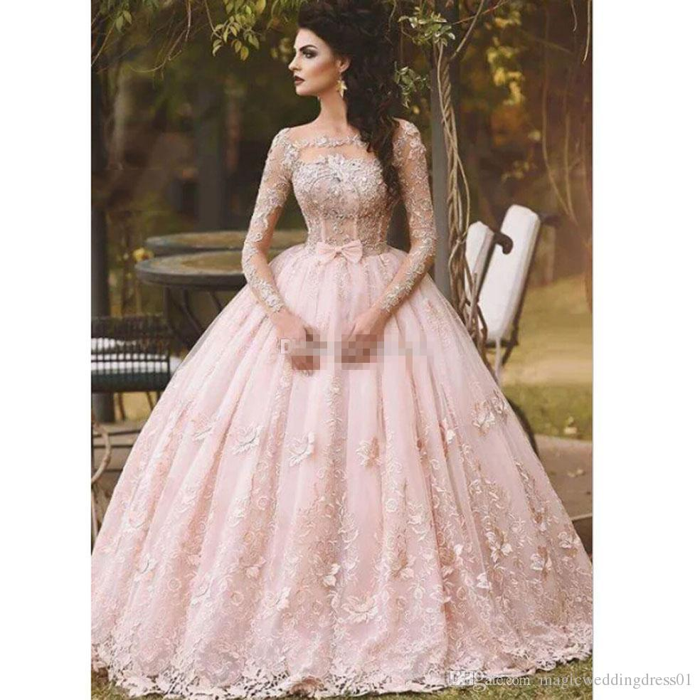 Pink Long Sleeve Prom Dresses Ball Gown Lace Appliqued Bow Sheer Neck 2017 Vintage Sweet 16 Girls Debutantes Quinceanera Dress Evening Gowns