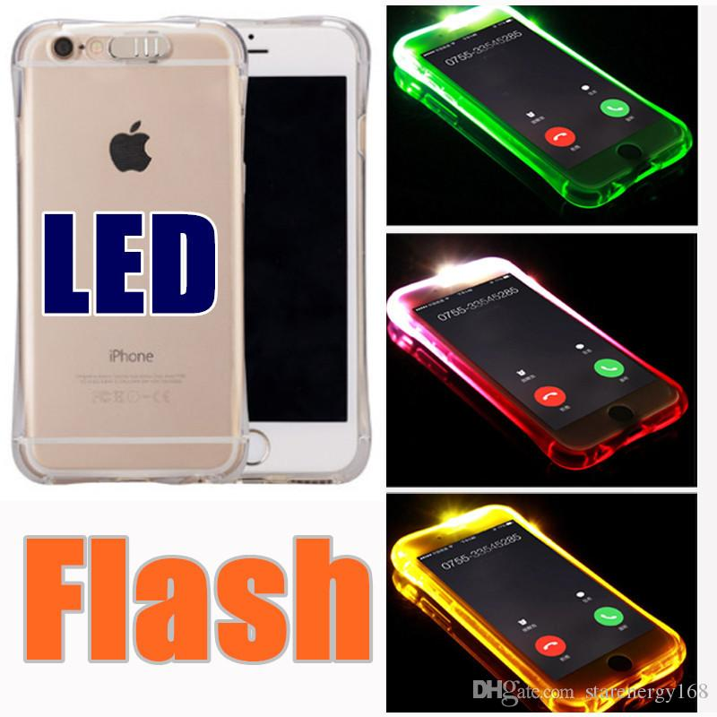 promo code 4b1d7 959ca 2018 TPU PC LED Flash Light Up Case Remind Incoming Call Cover for iPhone 7  SE 6 6S Plus Samsung S7 S6 Edge Note 5 Clear Transparent F-SW