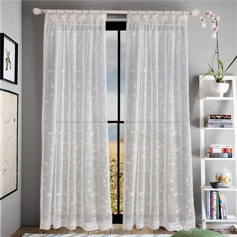 Compre Coloful Floral Tulle Voile Door Window Cortina Cortina Panel - Ver-cortinas