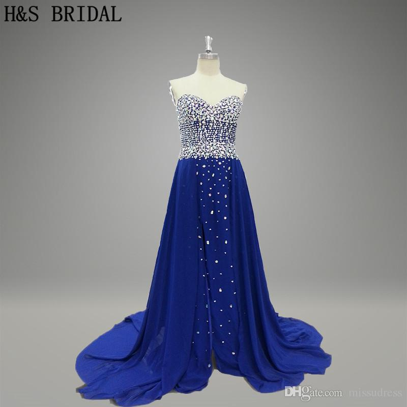 Prom Dresses Custom Made Sweetheart Gorgeous Sequins Beaded Royal Blue Chiffon Ladies Formal Evening Dresses Night Party Wear 015
