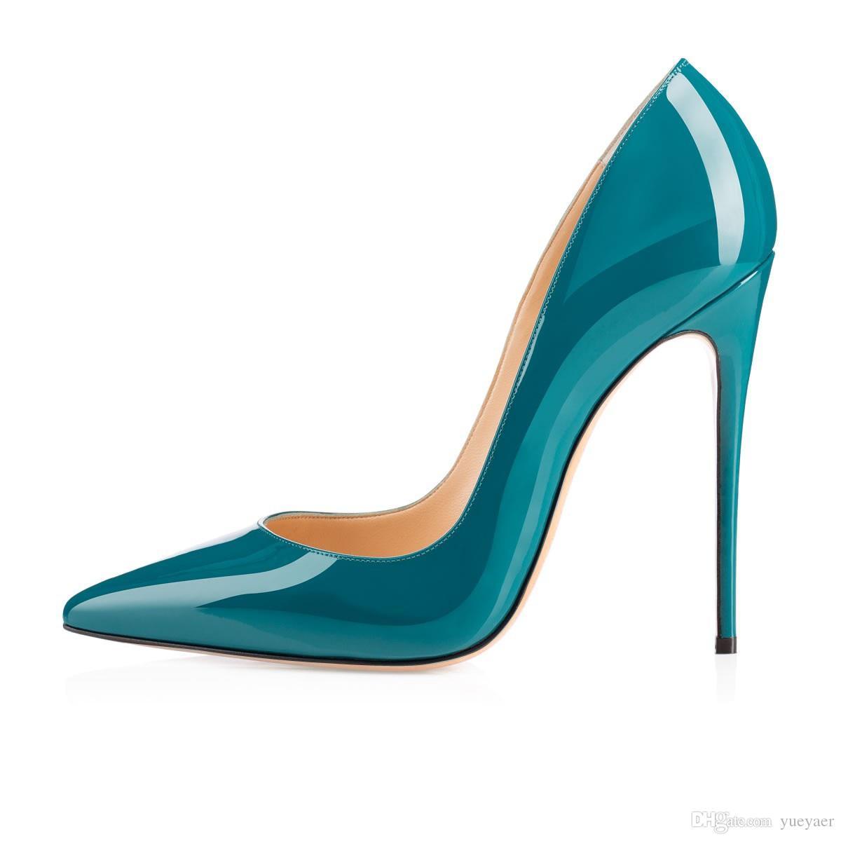 Zandina señoras hechas a mano de moda ASO-kate 120 mm punta estrecha partido clásico bombas de tacón delgado zapatos de aguja verde oscuro