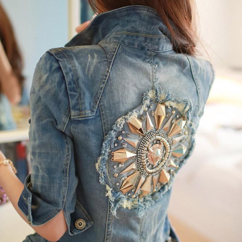Wholesale New Fashion Star Jeans Women Punk Spike Studded Shrug