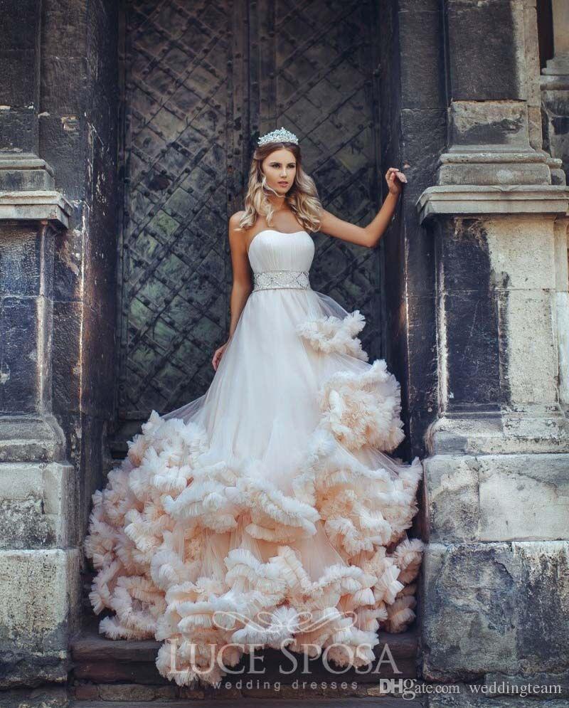 공주 긴 기차 공 가운 웨딩 드레스 Strapless 목 디자이너 페르시 얇은 얇은 명주 푸드 크기 신부 가운