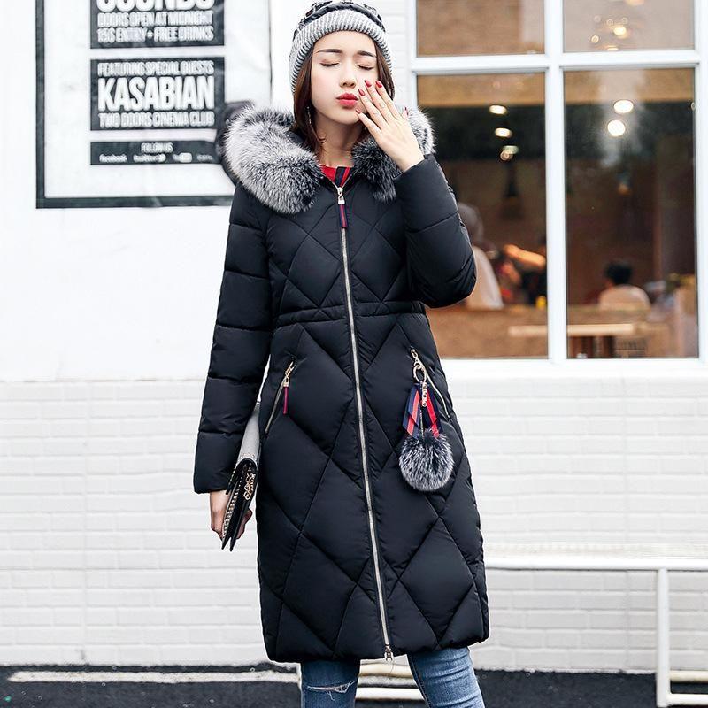 0d904222e62 Women Fashion Winter Hooded Down Jacket Faux Fur Collar Warm Elegant Thick  Outerwear Female Solid Color Slim Long Coat Plus Size Women Down Coats Long  ...