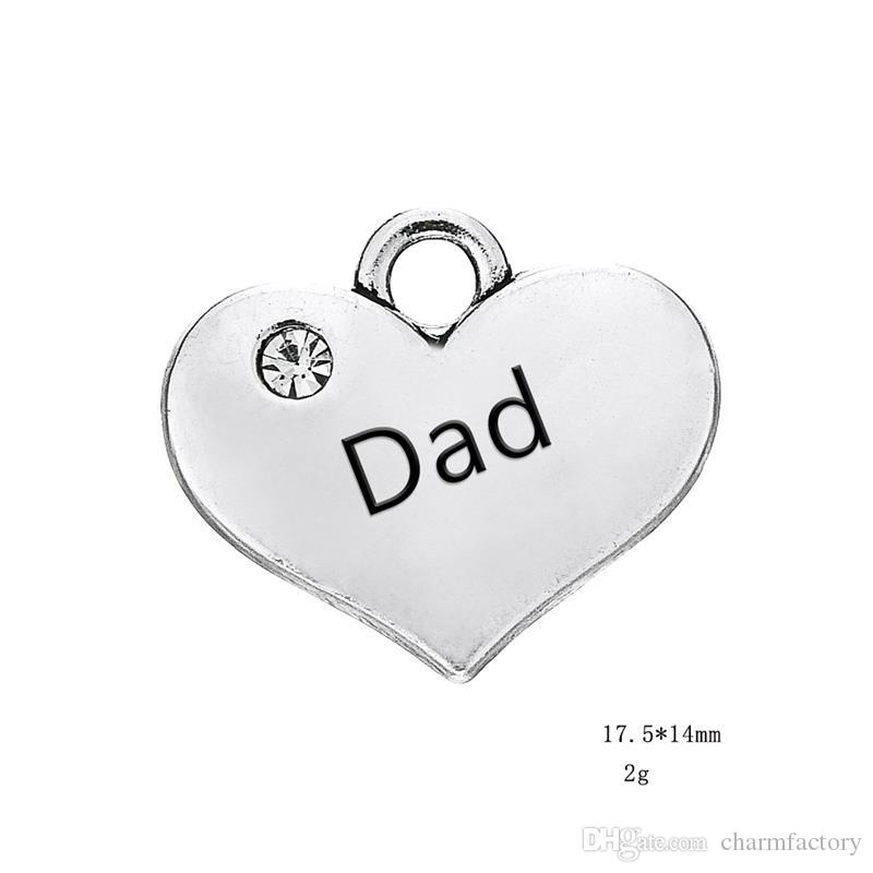 Hot Sell Dad Engraved Words Clear Crystal Heart Pendant With Antique Silver Plated Fashion Charm DIY Necklaces&Bracelets