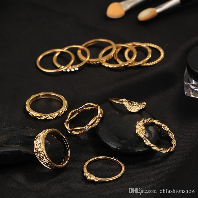 / set encanto da cor do ouro Midi Dedo Set Anel por Mulheres Boho Vintage Knuckle Partido Anéis Punk jóias presente para a menina