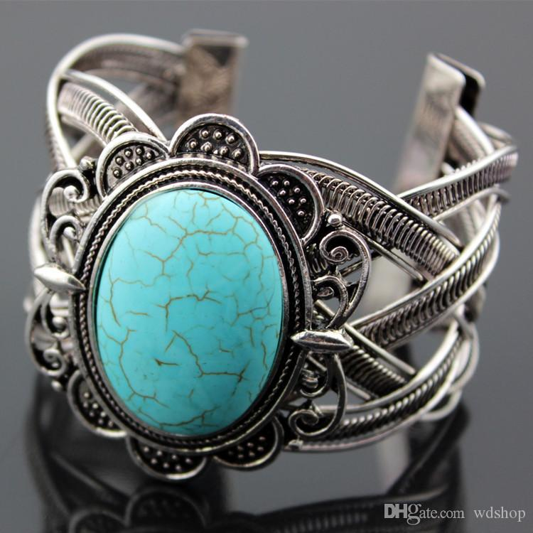 Vintage Exotic Exaggerated Metal Tibetan Silver Oval Natural Stone Turquoise Retro Bangle Cuff Bracelet Gift For Women Birthday Gift