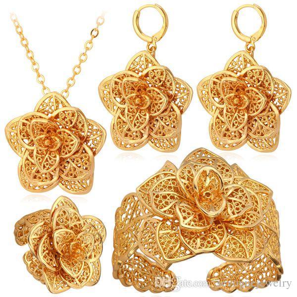 055c25fc634a Compre Vintage Flores Collar Pendientes Pulsera Anillo De La Joyería  Establece 18 K Oro Real Plateado Regalo Para Mujer Accesorio De La Joyería  Del Partido ...