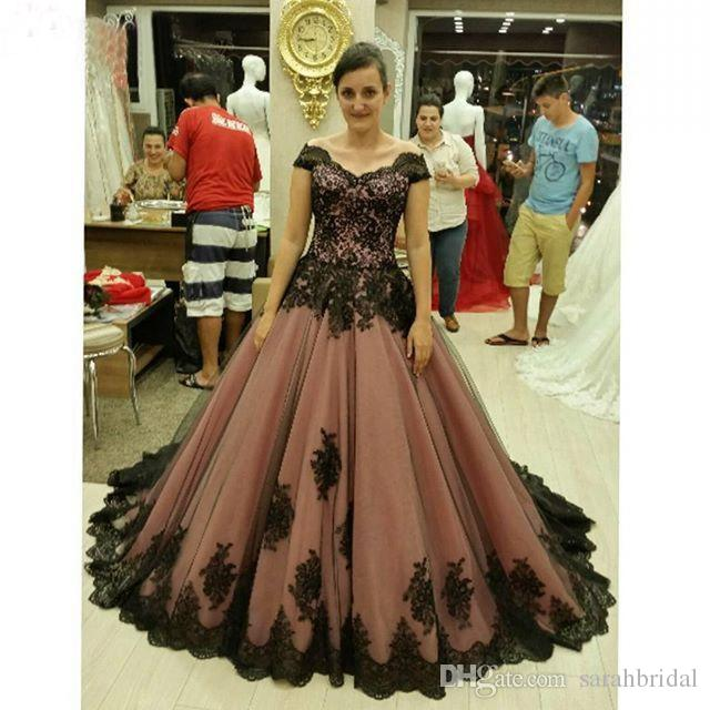 Popular Plus Size Gothic Wedding Gowns Buy Cheap Plus Size: Discount 2017 New Cheap Plus Size Short Sleeves Vintage