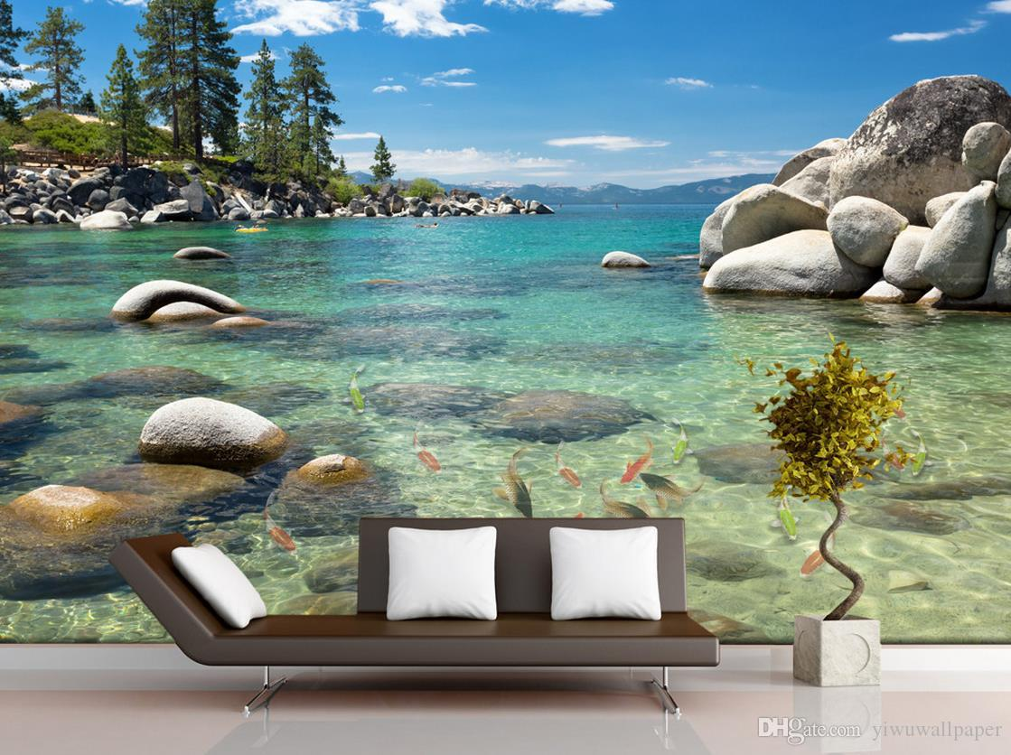 Hd Lake Stone Children Bedroom Background Wall Mural 3d