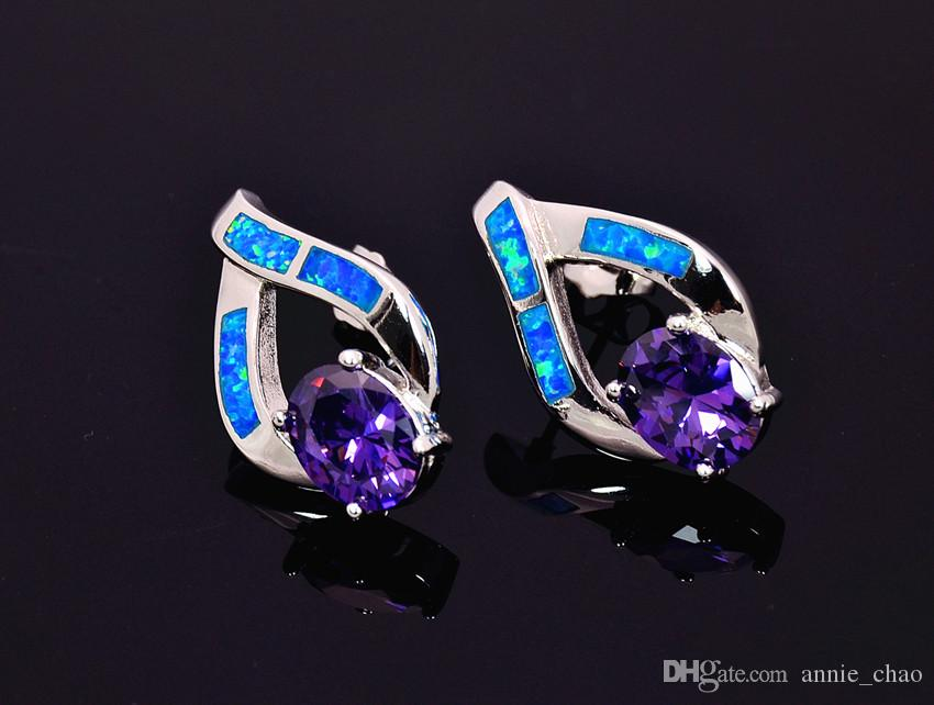 18825bbc18b970 Wholesale   Retail Fashion Blue Pink Fine Fire Opal Earrings 925 Silver  Plated Jewelry EMT16042609 Earrings Opal Online with  57.49 Piece on  Annie chao s ...
