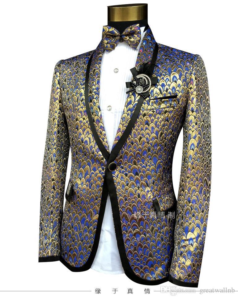 Свободный корабль 100%реальные мужские полные перья чешуйчатой вышивки jacqurd смокинг костюм /событие/сценическое исполнение/4 различных colorchoice