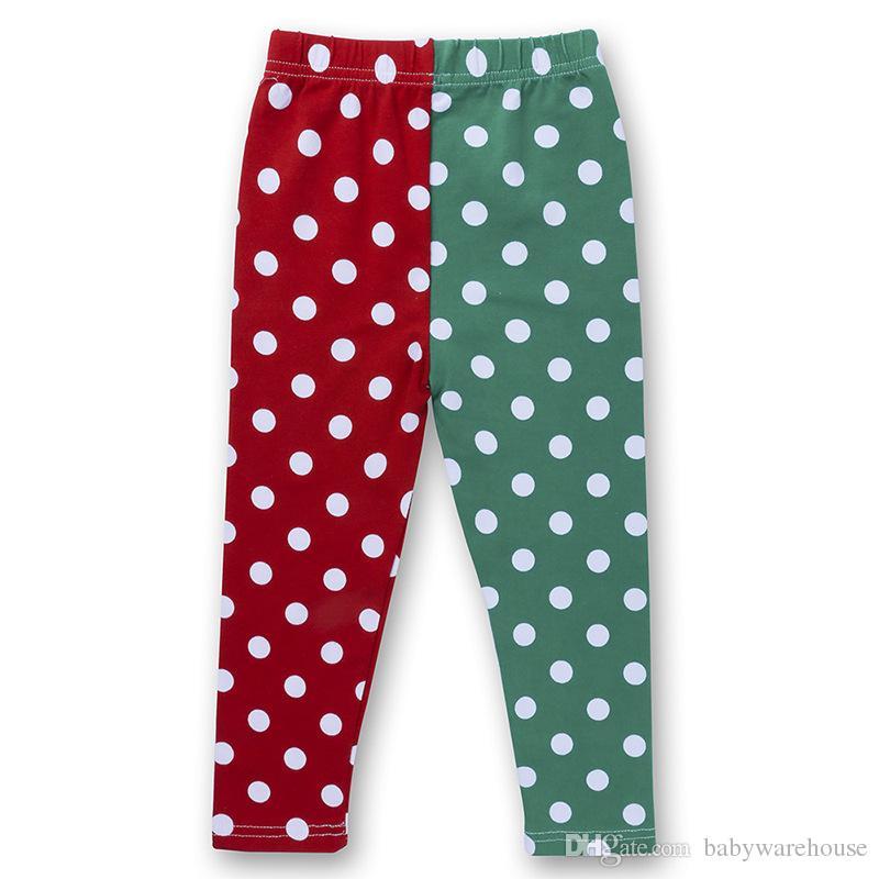 Roupa do bebê de Natal Crianças Roupa Define meninas T-shirt longo vestido de manga + Polka Dot Leggings Pants Two Piece ternos Xmas Outfits Kid