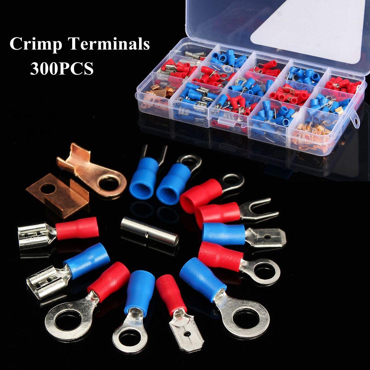 300 unids surtidos terminales de engaste conjunto aislado kit de caja de conector de cable eléctrico aislado