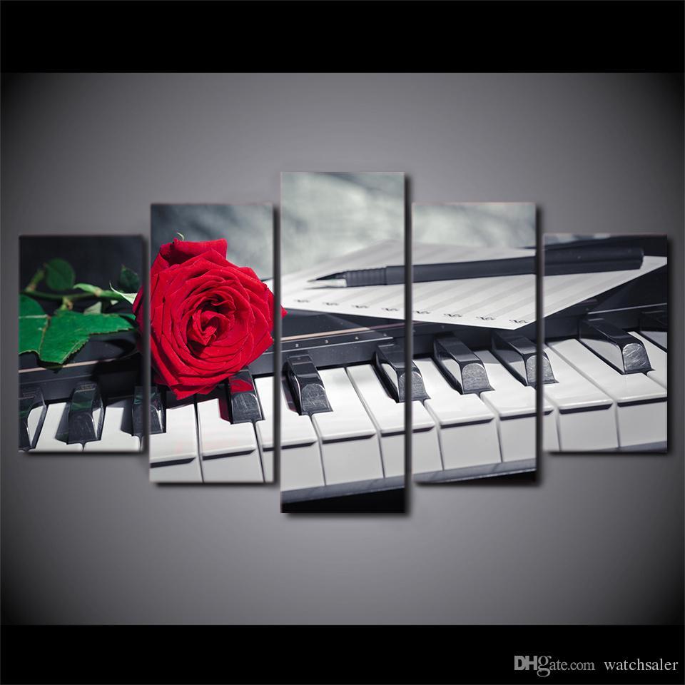 Satın Al Hd Baskılı 5 Parça Tuval Sanat Piyano Tuşları Boyama Gül