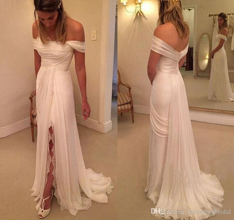 Cheap Summer Off The Shoulder Chiffon Wedding Dress Thigh-High Slits White Bridal Dresses For Gowns online chinese store