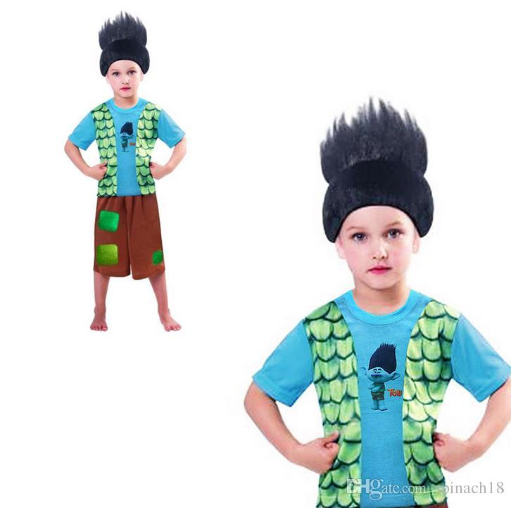 2017 Children Summer Boys Trolls Pajamas Suit Short Sleeve T-shirts + Pants Set Kids Sleeping Clothing Set 3193