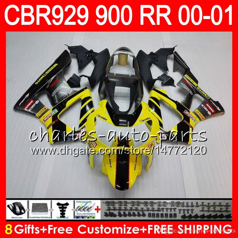 Body For HONDA CBR 929RR CBR900RR CBR929RR 00 01 CBR 900RR 67HM21 Yellow new CBR929 RR CBR900 RR CBR 929 RR 2000 2001 Fairing kit 8Gifts