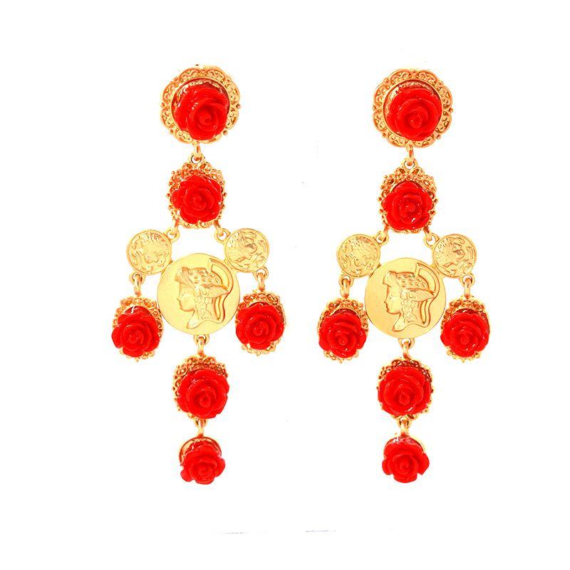 New Arrival Vintage Red&White Rose Big Cross Drop Earrings for Women Baroque Retro Bohemian Large Long Earrings Jewelry