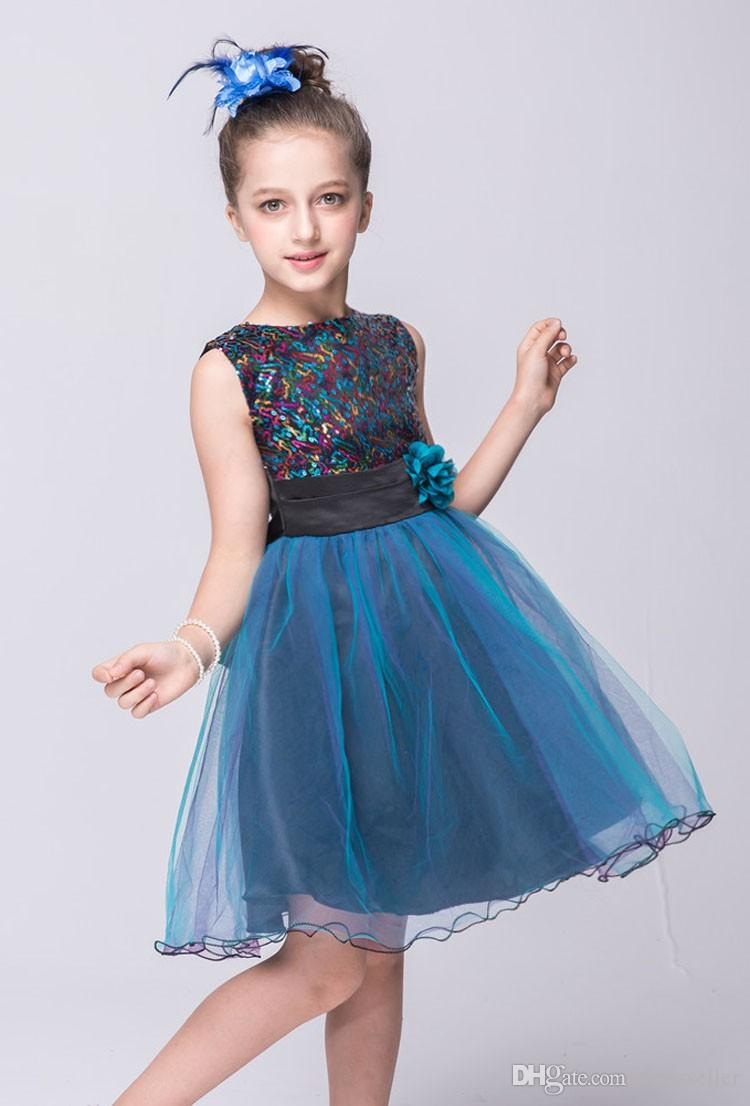 Girls Sepuined Dresses Summer 2017 High Quality Blue Flower Girl ...