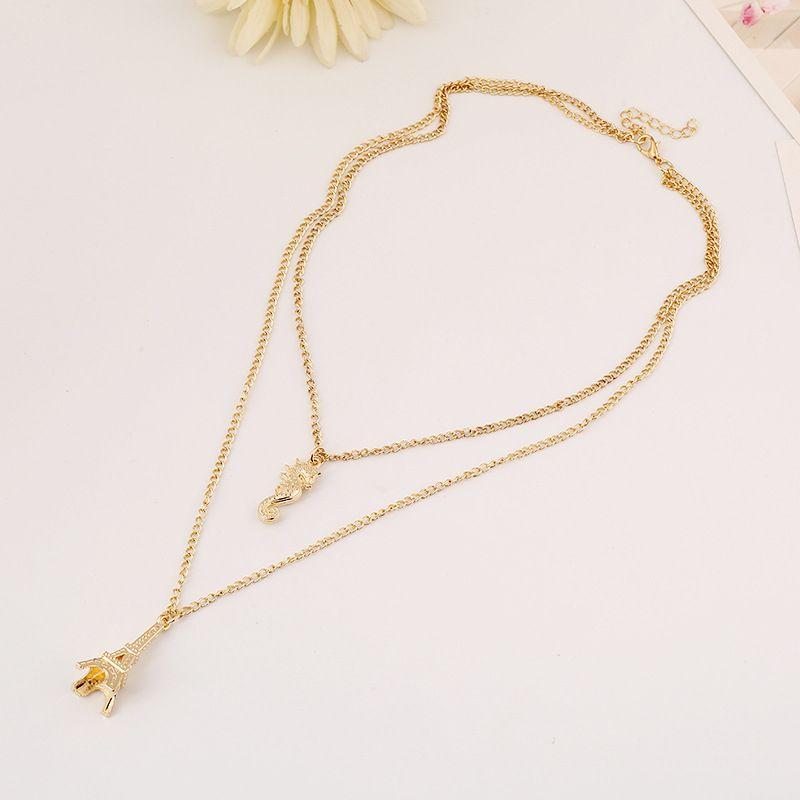 2018 nouvelle tour eiffel collier pendentif tour de cou collier de chaîne de collier filles plaqué or collier pendentif déclaration bijoux en gros
