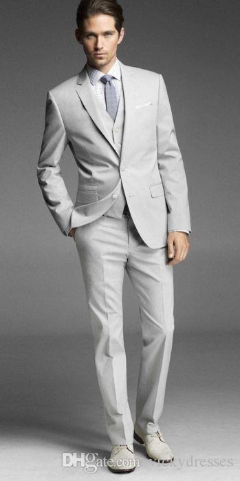 Cheap Men Suits Wedding Tuxedos For Sliver Handsome Grooms Best Custom Made Three Pieces Groomsmen Jacket Pants Vest Mens Wear