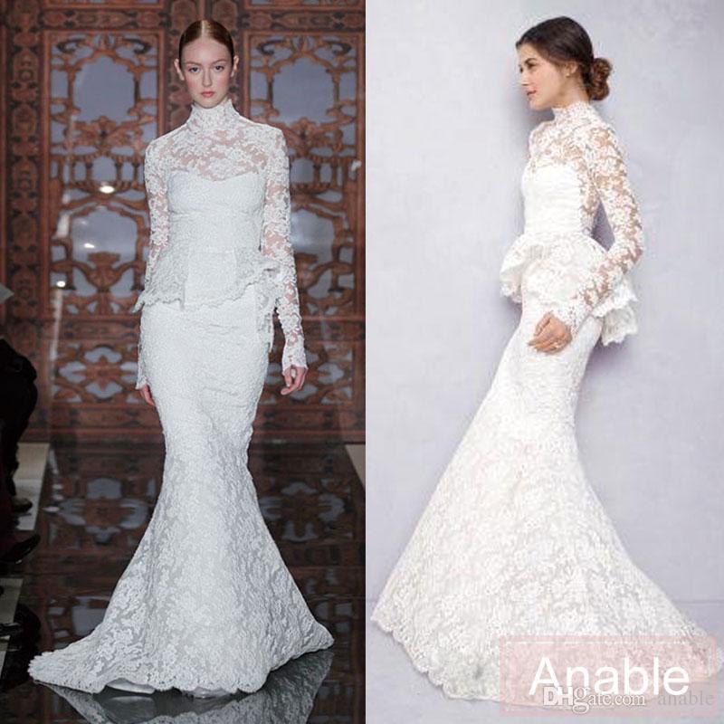 2016 New High Neck Berta Full Lace Wedding Dresses Lace Floor Length ...