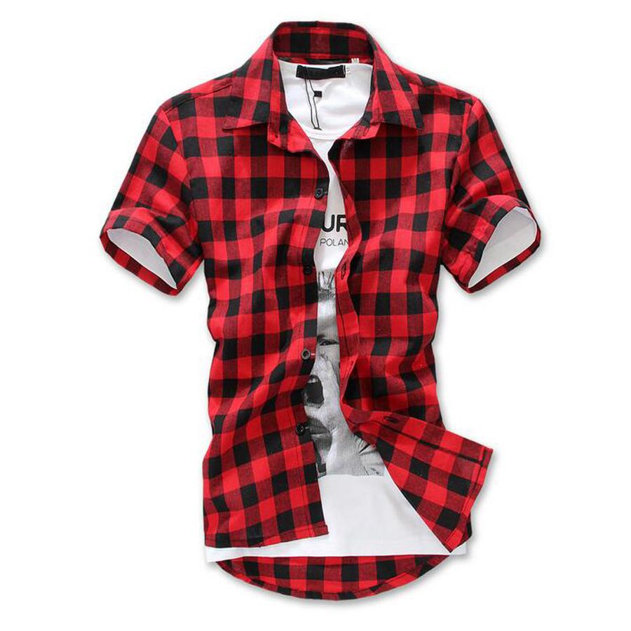 Venta Al Por Mayor Moda Rojo Negro Azul Para Hombre Camisa A Cuadros De Manga Corta Hombres A Cuadros Camisa De Algodon Para Hombres Camisas De
