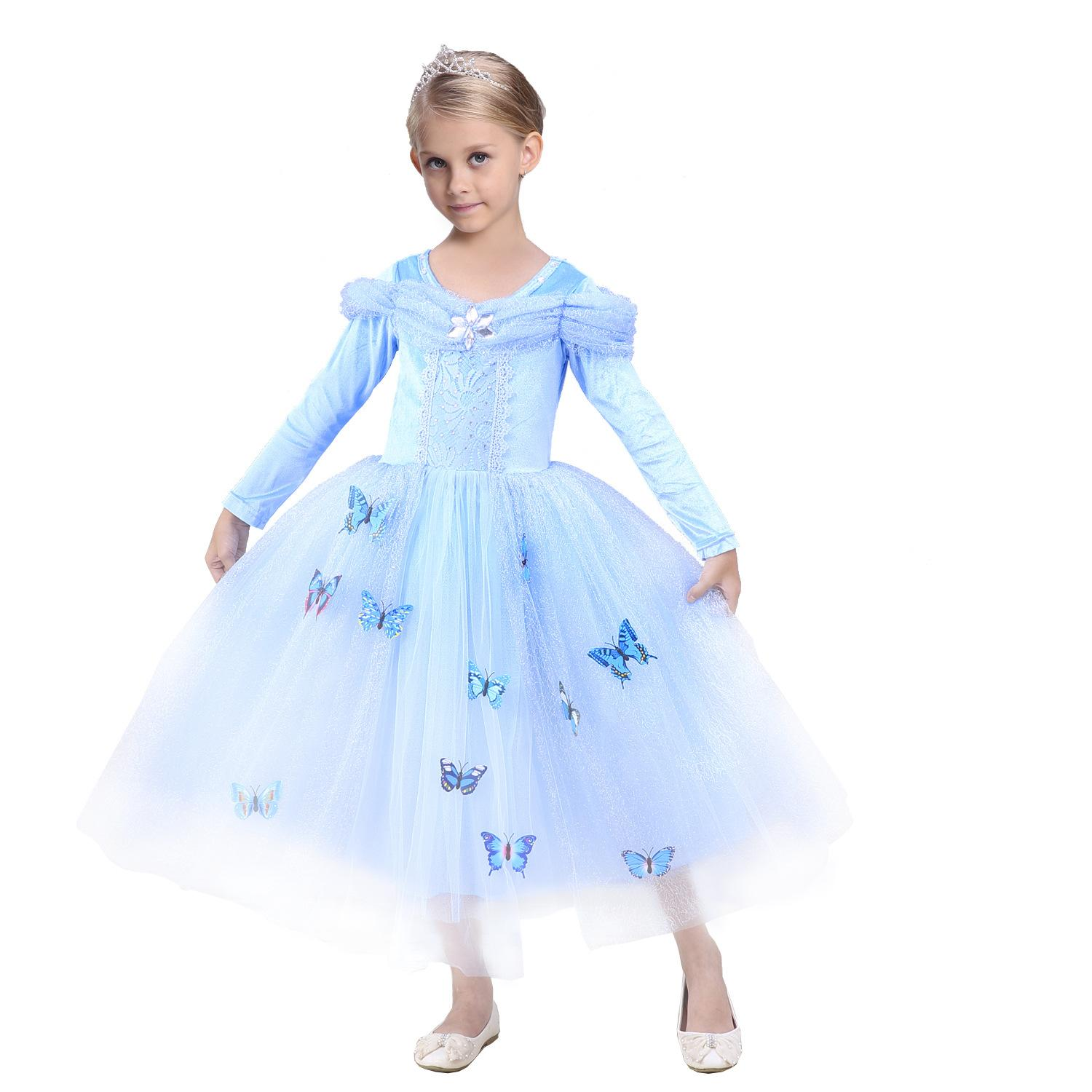 Students Christmas gift Girls dress Cosplay Princess dresses Long sleeve Butterfly Party birthday gifts Puff sleeve blue Winter