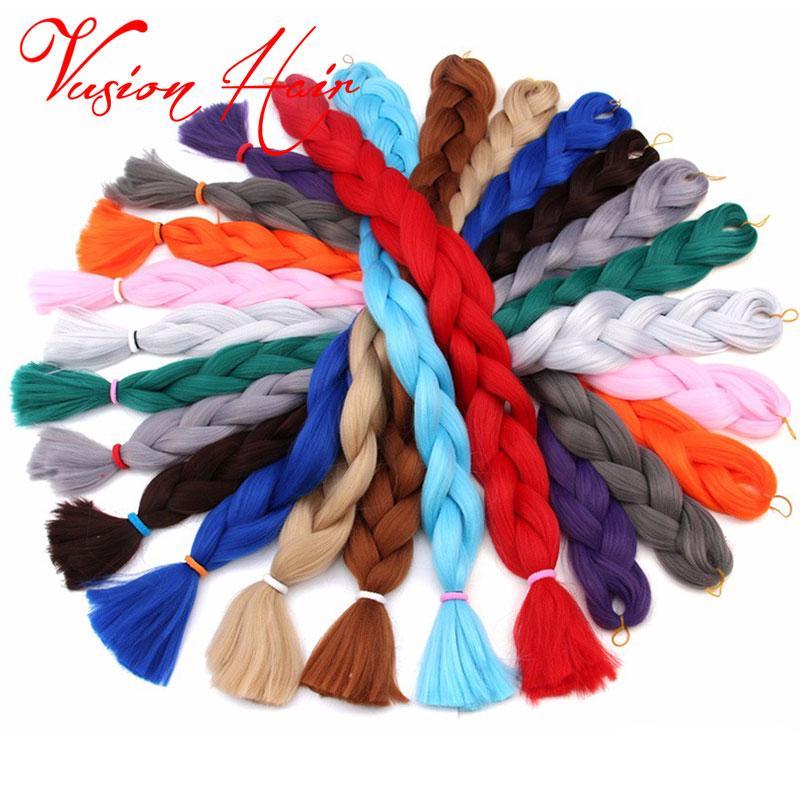 Katı Renk Xpression Örgü Saç Toplu Tığ Örgü 82 İnç 165g / Kanekalon Örgü Saç Jumbo Sentetik Örgü Saç Uzantıları paketi