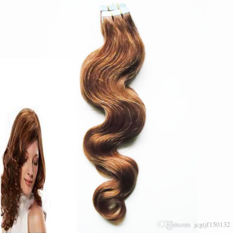 Extensões de cabelo Fita de Trama Da Pele Do Cabelo da Onda do corpo brasileiro 20 peças 7A 50g # 4 Escuro Marrom Fita Extensão Do Cabelo Humano