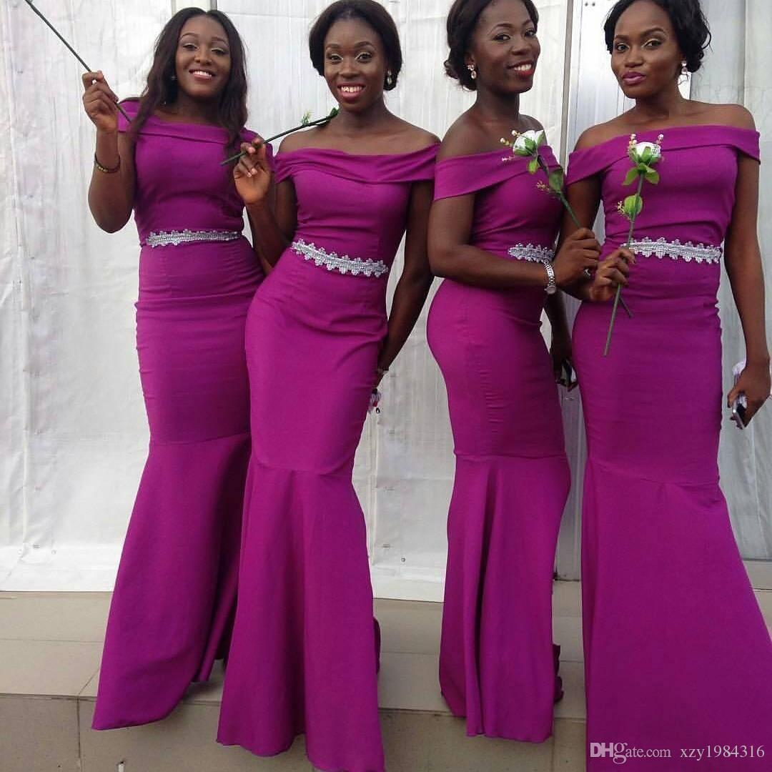 Compre Sirena Púrpura Nigeriano Vestidos De Dama De Honor ...