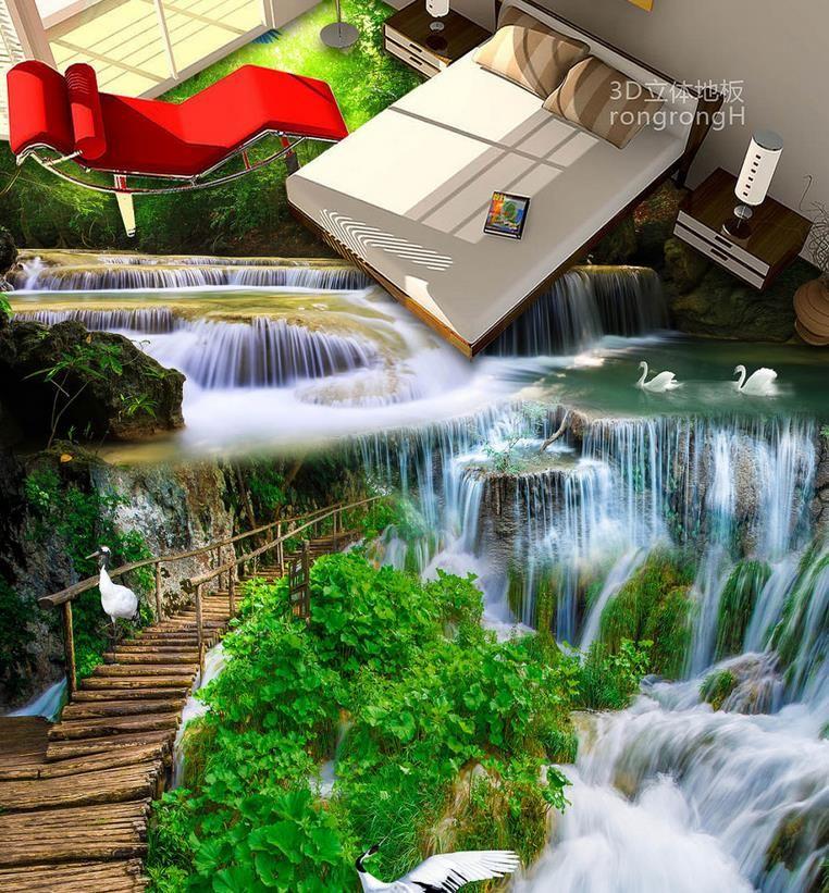 vinyl flooring photo wall mural Custom wallpapers for living room Waterfall lotus carp 3d floor tiles photo wallpaper