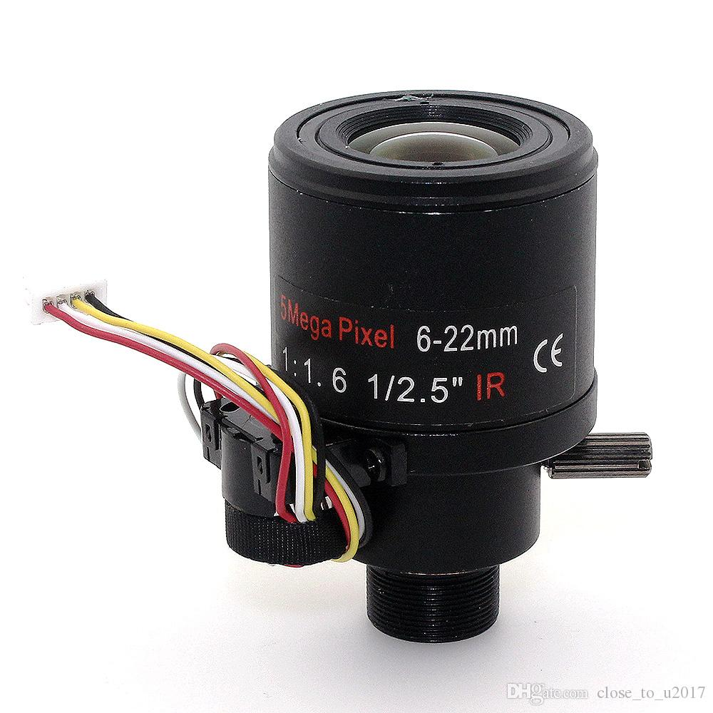f1.6 1 / 2,5 pollici 5MP Varifocal auto focus 6-22mm obiettivo ir M12 mount lens cctv Zoom automatico obiettivo ottico