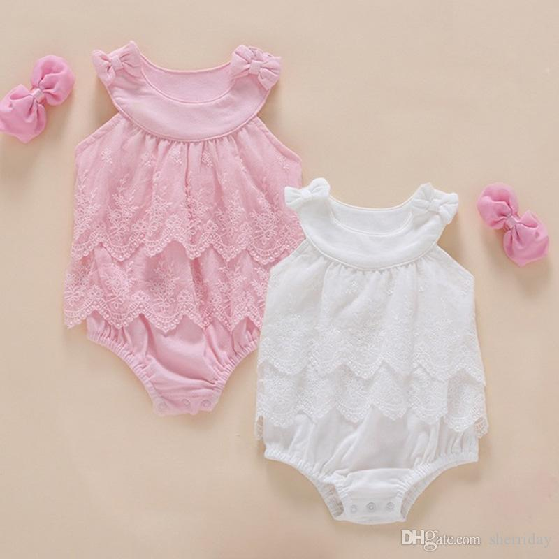 98dc25d3efc 2019 High Quality Baby Girl Ins Baby Cotton Bodysuit Cute Lace And Bow Vest  Jumpsuit Sweet Pink Princess Dress Hairband NewBorn Party Clothing From ...