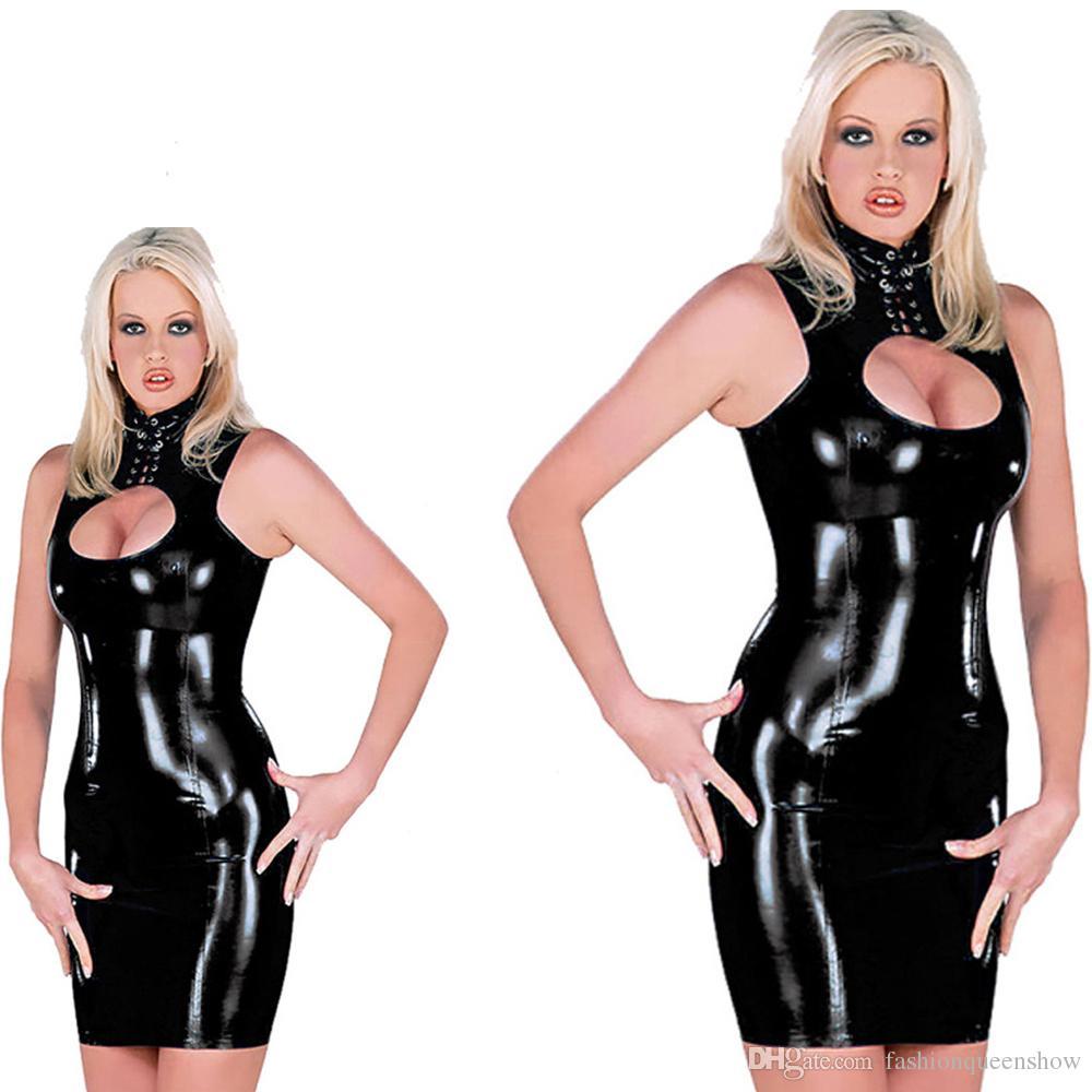 Black Wet Look Women's Keyhole Open Chest Dress Bodycon Stylish Lace-up Collar Mini Dress Sexy Night Clubwear Catwoman Costume