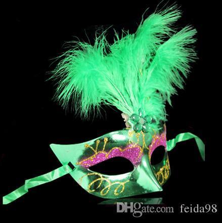 Multi couleur plume PVC princesse masque sexy hallowmas vénitien bauta masque