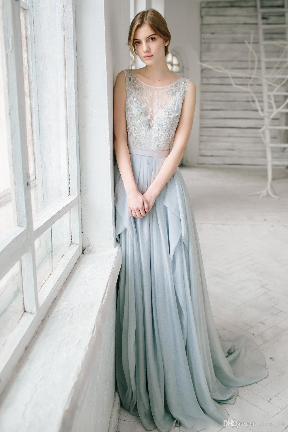 Charming 2016 Dusty Blue Chiffon Backless Bridesmaid Dresses Long Cheap Jewel Lace Beaded Sash Long Maid Of Honor Gowns Custom Made EN111511