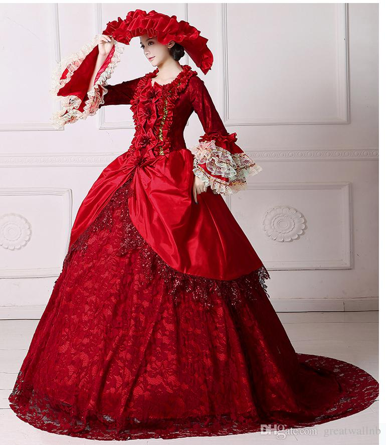 Real Luxury Red Lace Beading Carnival Lace Court Medieval