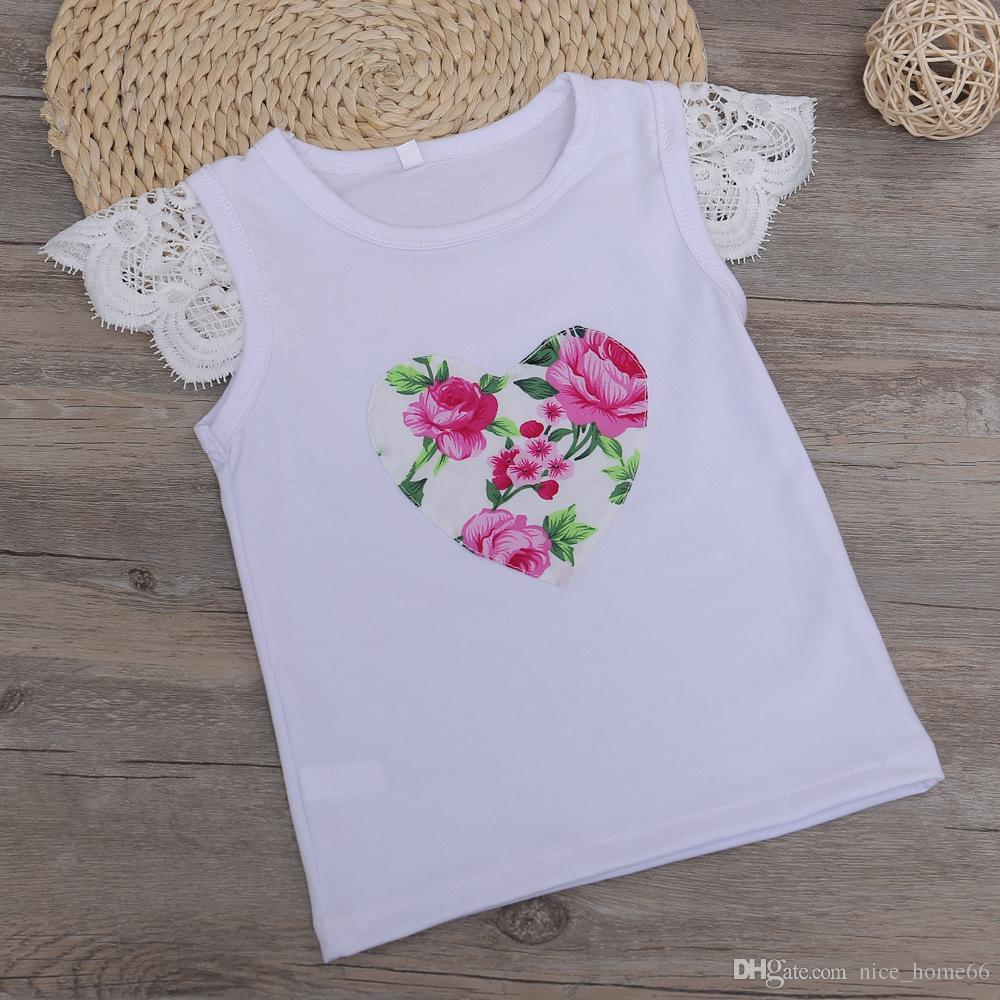 Bebek Dantel Çiçek Takım Elbise Yaz Giyim Setleri Bebek Kız Çiçek Baskılı T-shirt + Şort 3 Adet Set Çocuk Kız Kıyafetler Çocuk Pamuklu Giysiler