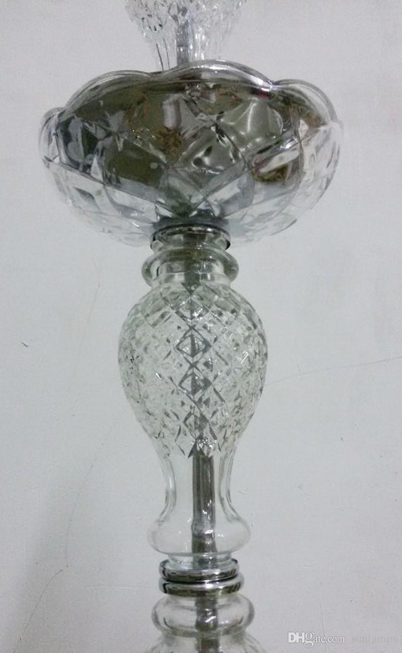Grandes lámparas de mesa de restaurante de cromo gris plata candelabros de vidrio led altos titulares de vela para la boda comedor de mesa de cristal candelabro de luz
