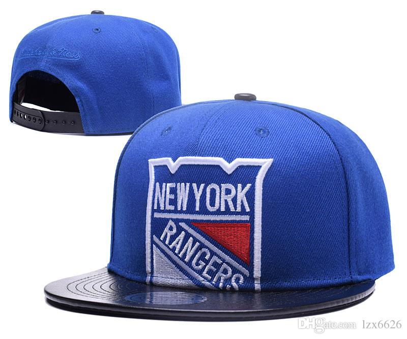 Men's New York Islander Blue Top Leather Visor Hockey Snapback Hats Team Logo Embroidery Sports Adjustable NY MN Baseball Caps CAO