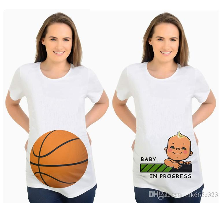 33a217a6f 2019 Brand New Maternity Supplies Baby Peeking T Shirt Funny Pregnancy Cute Announcement  Pregnant White Tops Clothes Dress Mom Clothing From Mk665e323, ...