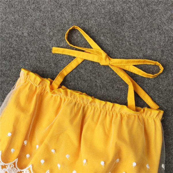Neonate Lace Up Pagliaccetto giallo Pizzo Passamaneria Pagliaccetto snapper aperto Neonati abiti estivi carino 4 taglie 1-2T