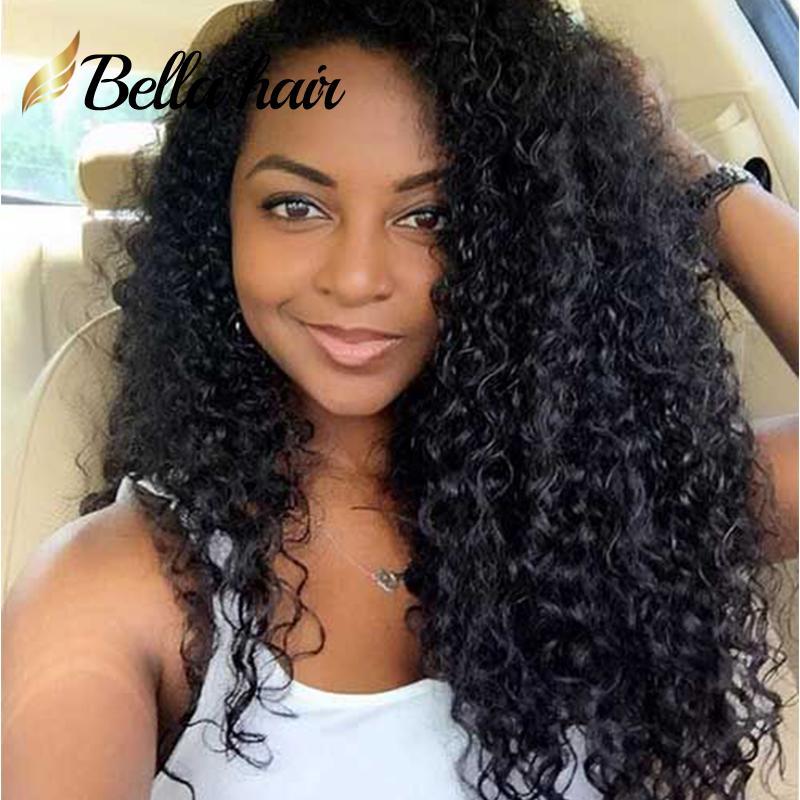 Peruanska Virgin Mänskliga Hår Parykor För Svart Kvinnor Medium Cap Lace Front Pärlor 130% Täthet Curly Natural Color Bellahair