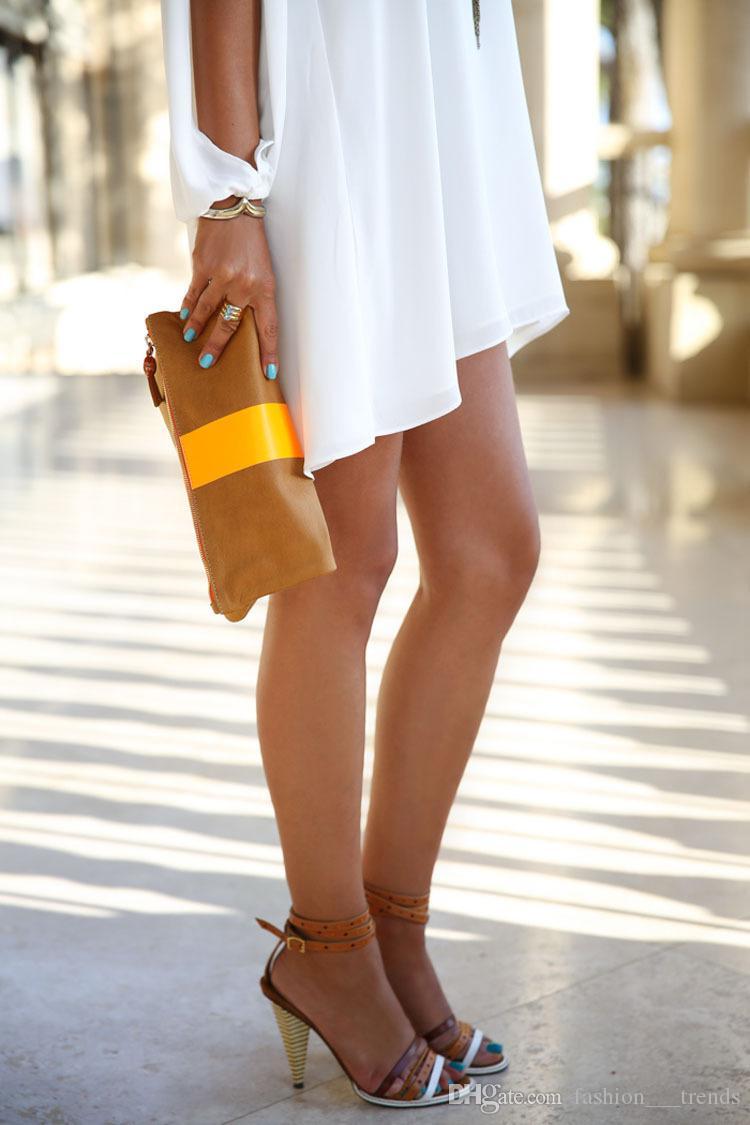 2017 donne calde di vendita elegante allentato manica lunga scollo av abito casual plus size abito irregolare tinta unita abiti in chiffon collo allentato abito